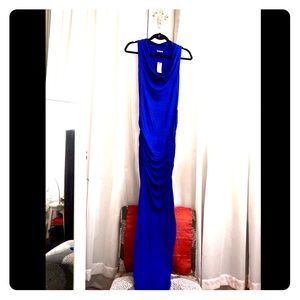 NWT! EXPRESS Bright Blue Slinky Maxi Dress, M